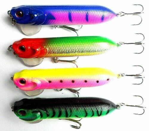 A0080 STOCK 16 POPPER LURES 9,5 CM CRANK BAITS 18 GR 16 COLOURS PIKE BLACK BASS