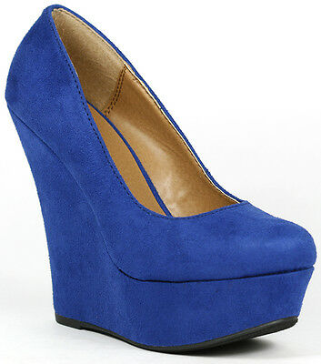 Ocean Dark Blue Faux Suede Round Toe Platform Wedge Delicious Meroz