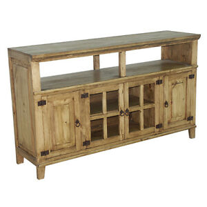60  Rustic TV Stand Western Solid Wood Rustic Console Glass Doors Cabin Lodge