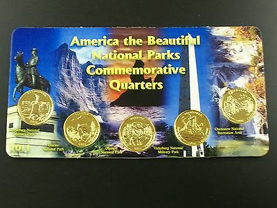 2011 Complete Set of 24kt. Gold Plated Parks Quarters In a Holder
