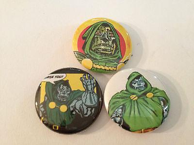 "DR. DOOM set of 3 1"" pins buttons Fantastic four marvel universe victor von"