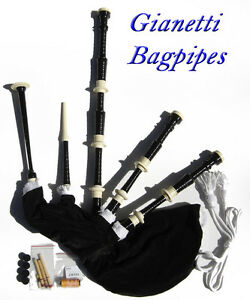 Gianetti-Black-Full-Size-Beginner-Starter-Bagpipe-Bagpipes-Outfit-Synthetic-Bag