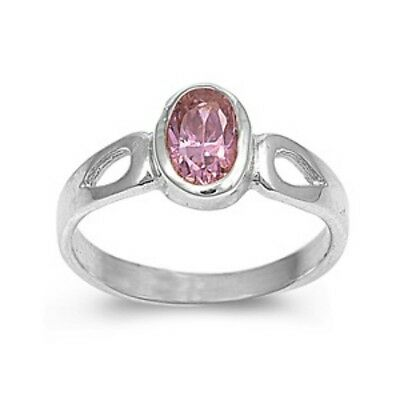 Sterling Silver ring size 1 CZ Kids Infinity Baby Pink Topaz Oval cut New b11