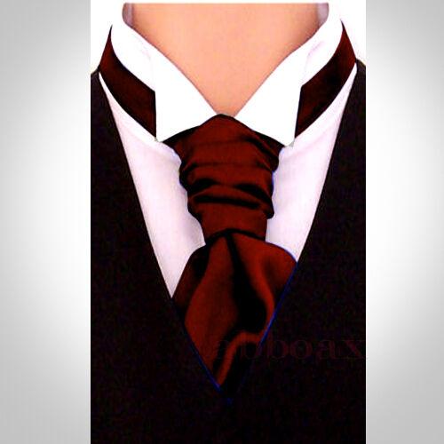 New Italian Mens and Boys Satin Wedding Ruche Cravat Tie