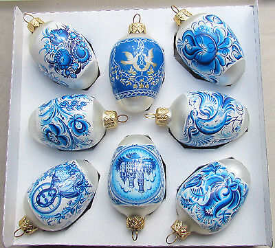 8 Glass Christmas Ornaments, Blue Gzhel Design, Pysanka, Xmas Egg #8-3