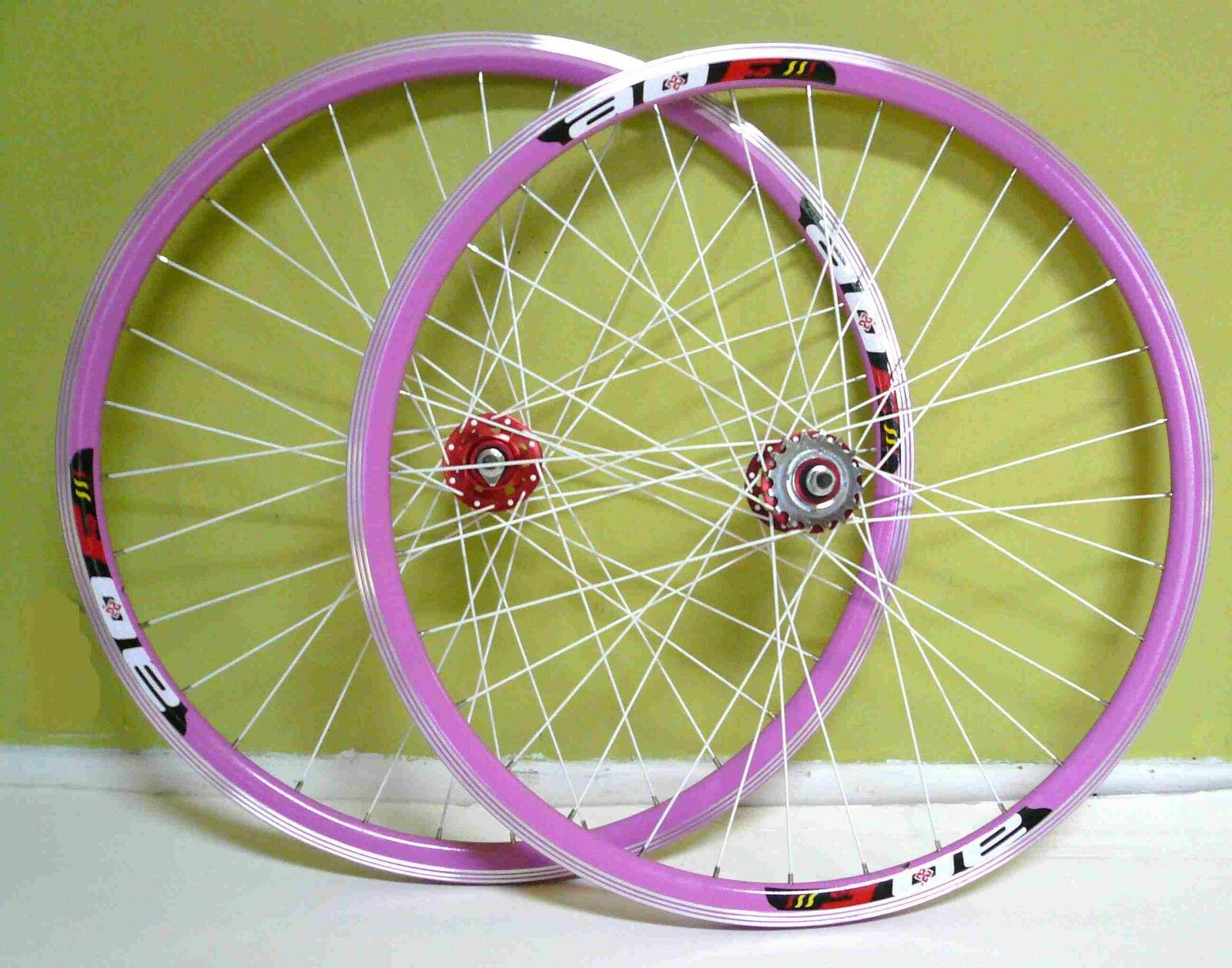 700c 32HFixed Gear Front & Rear Wheels Rims Pink w White spokes for sale
