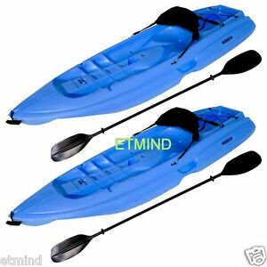 New-2-Blue-8-039-Adult-Sea-Kayaks-with-Paddle-amp-Backrest-Set-of-Two-Pond-Lake-Boat