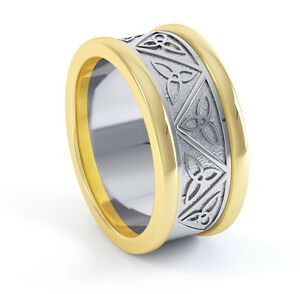 10K Gold SterIing Silver Irish Handcrafted Celtic Knot Wedding Anniversary Ring