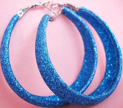 E1027 fashion blue dull polish hoop earrings charm women cute noble jewelry hot