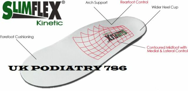 Slimflex Insoles Kinetic Orthotic, Rear Foot Balance, Arch, Cushioning