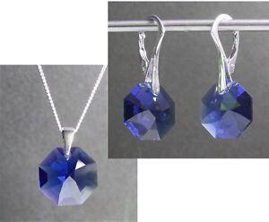 Echt Silber Schmuck-set Mit Swarovski® Kristallen Dunkel-blau Ohrringe Kette