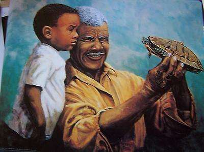 African American black art  GRANDPA AND GRANDSON WITH TURTLE