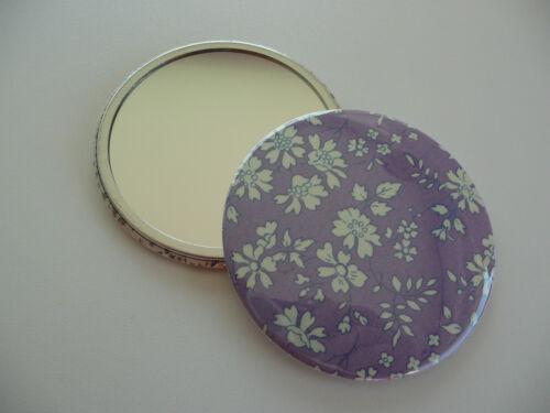 Miroir de poche 5,60 cm 56 mm en tissus liberty