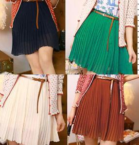 Sexy-Women-Girls-Retro-Pleated-Mini-Skirts-Chiffon-Waist-Short-Dress-with-Belt-O