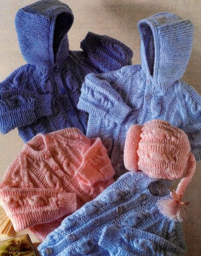 KNITTING PATTERNS PREMATURE BABY GIRL BOY SWEATER COAT CARDIGAN HAT MITTS V3