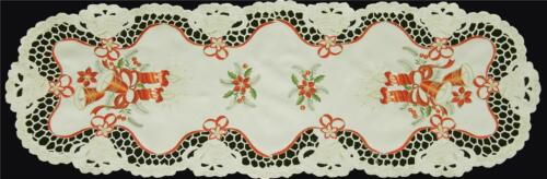 Christmas Embroidered Poinsettia Bell Candle Placemat Table Runner Tablecloth