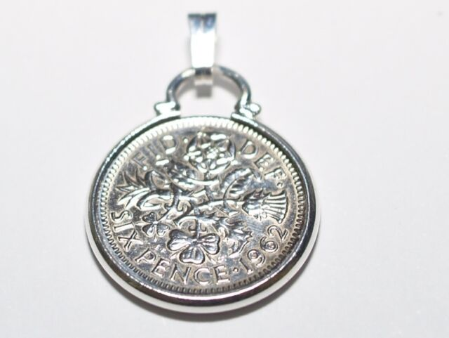 1962 56th Birthday lucky sixpence coin pendant charm - 56th birthday 1962 charm
