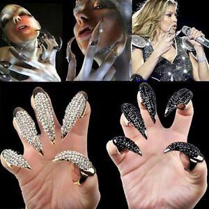 HOT-Fashion-Crystl-rhinestone-Claw-Oval-Rings-nail-Paw-Talon-Finger-Oval-Punk