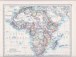 1912 MAP ~ AFRICA ~ MADAGASCAR ~ SAHARA EGYPT CAPE COLONY ANGOLA ALGERIA