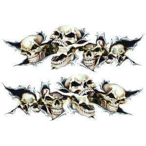 Shreaded Skull Set Decals Stickers MOTORCYCLES CAR Snowboard - Skull decals for motorcycles