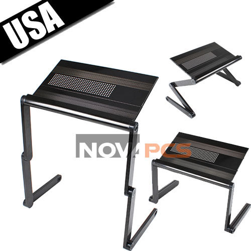 Adjustable Portable Folding Aluminum Laptop Notebook Table Desk on Bed Sofa