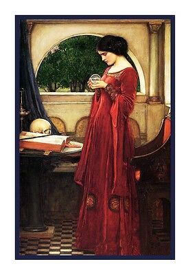 The Crystal Ball by  John William Waterhouse Counted Cross Stitch Chart