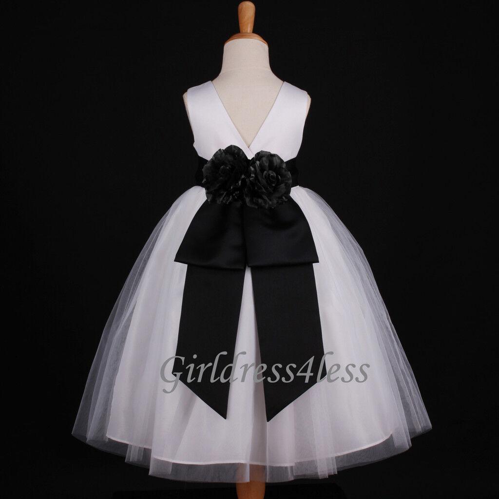 WHITE/BLACK WEDDING FORMAL BALL GOWN FLOWER GIRL DRESS 12M 2 4 6 8 ...