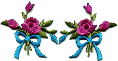 Mauve roses pair flowers floral bouquet boho retro applique iron-on patch S-548
