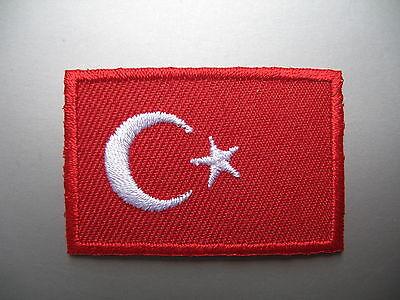 TURKISH FLAG Small Iron On/ Sew On Cloth Patch Badge Türkiye Türk bayrağı Turkey
