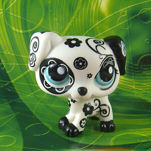 Littlest-Pet-Shop-1613-RARE-BLACK-WHITE-FLOWER-DALMATION-DOG-Toy-Loose-LPS71
