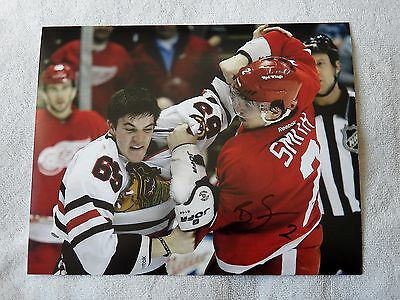 Detroit Red Wings Brendan Smith Auto 8x10 Fight Photo