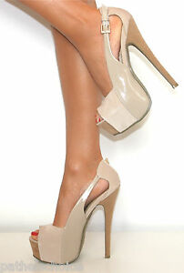 LADIES NUDE SUEDE PATENT PLATFORM STILETTO HIGH HEELS PEEP TOE ...