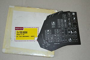 rover bl fuse box label genuine part yqs000090 new image is loading rover bl fuse box label genuine part yqs000090