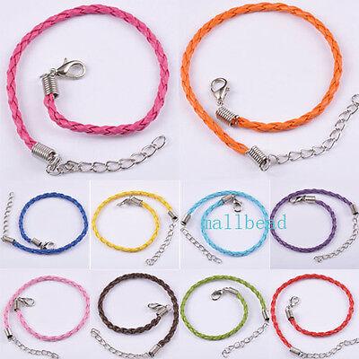 50pcs/100pcs Fashion Leather Bracelet Cord 10 Colours M8417 240x3mm Free Ship