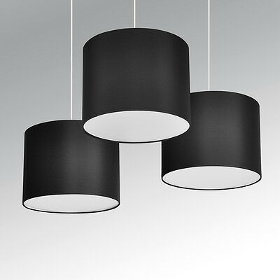 Set of 3 Black Ceiling Light Pendant Drum Lamp Shades with Frosted Diffusers NEW