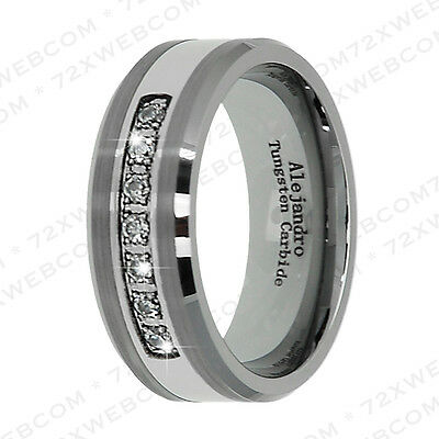 Diamond Tungsten Carbide Ring Amazing Brushed 8MM Classic Band Size 9.5 - TG098