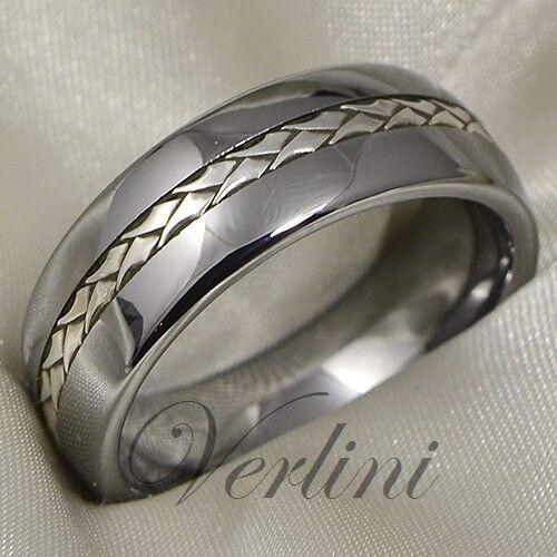 Tungsten Ring Silver Inlay Men's Wedding Band Titanium Color Size 6-13
