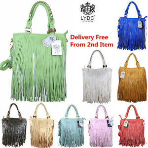 Ladies-LYDC-Hand-Shoulder-Bag-Fringe-Double-Tassel-Tote-Purse-Arti-Leather