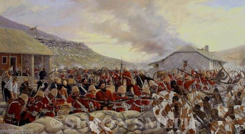 BATTLE OF RORKES DRIFT ZULU WAR VC ART PRINT 24TH FOOT BY SIMON SMITH