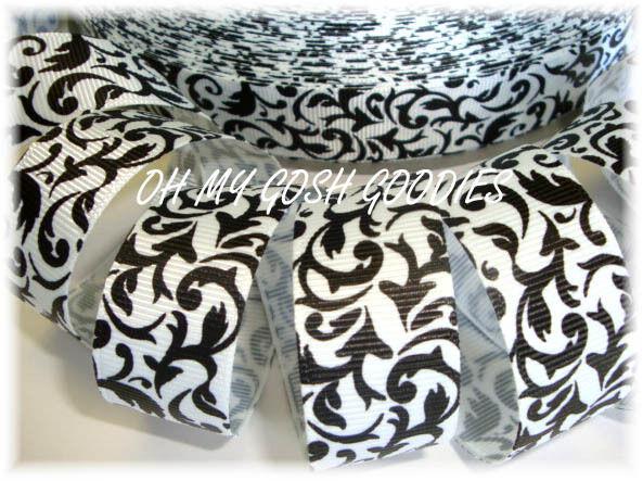 7/8 CLASSIC BLACK WHITE DAMASK SCROLL DESIGNER GROSGRAIN RIBBON 4 HAIRBOW BOW