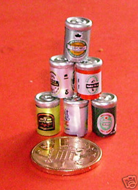 1:12 Scale Six Mixed Beer Cans Dolls House Miniature Pub - Bar Drink Accessory