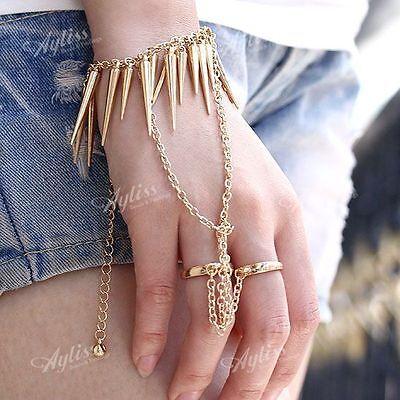 Golden Spike Rivet Chain Bracelet Double Ring Punk Cool Rock Slave Hand Harness