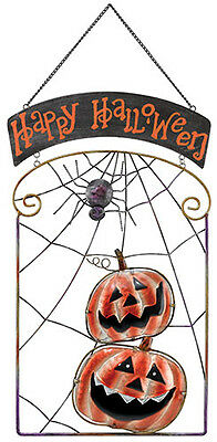 Happy Halloween  Jack-O-Lantern Pumpkins & Spider Metal/Glass Sign
