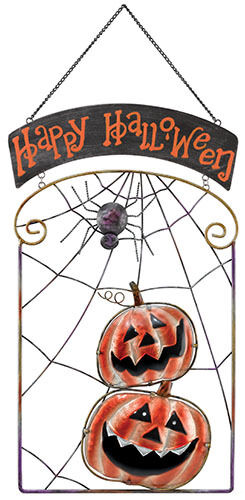 Happy Halloween  Jack-O-Lantern Pumpkins & Spider Metal/Glass Sign