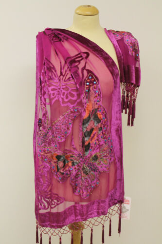 New Kimono Devor Velvet Designer Butterfly Pattern Beaded Silk Scarf Shawl Stole