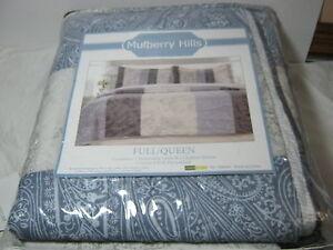 Mulberry Hills Luella Patchwork Full/Queen Quilt & Shams Set Blue Ivory Paisley
