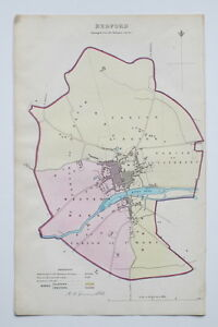 1837-BEDFORD-BEDFORDSHIRE-GENUINE-ANTIQUE-MAP-DAWSON-amp-REPORT-HAND-COLOURING