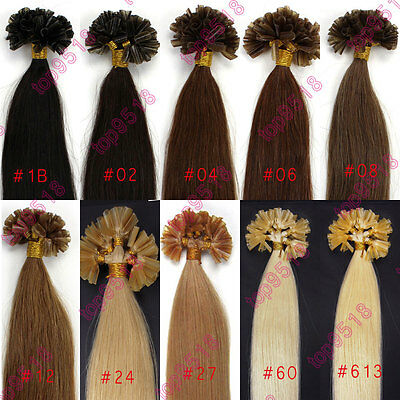 "22"" 100s Fusion U/Nail Keratin Tip Remy Human Hair Extensions Multiple Colors"