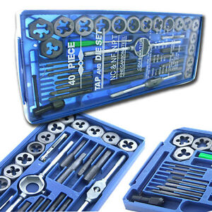 BLUE-BOX-40-Pc-MM-METRIC-Tap-amp-Die-Set-Bolt-Screw-Extractor-Puller-Removal-Kit