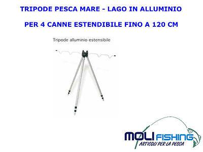 TRIPODE-TREPPIEDI IN ALLUMINIO PESCA MARE LAGO PER 4 CANNE MAX 120 CM